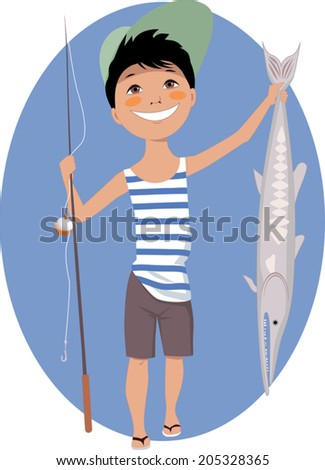 Cartoon little boy with a fishing rod and a big fish, no transparencies  - stock vector