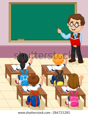 cartoon little kid a study in the classroom - stock vector