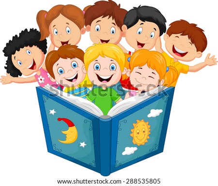 Cartoon little kid reading book  - stock vector