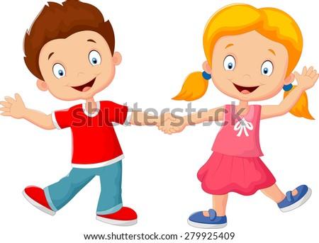 Cartoon little kids holding hand - stock vector