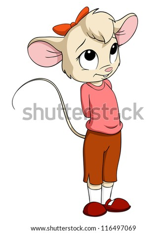Cartoon little mouse female in pink blouse. Vector illustration. - stock vector