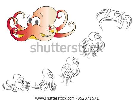 Cartoon Little Octopus Frame Animation Stock Vector 362871671 ...
