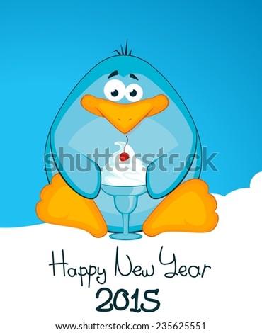 Cartoon little penguin with ice-cream. Vector illustration - stock vector