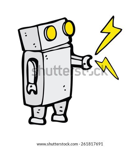 cartoon little robot - stock vector