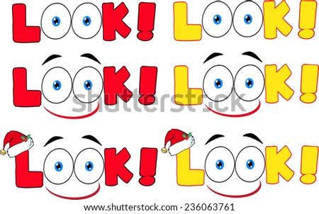Cartoon Look Text With Santa Hat And Eyes. Vector Collection Set