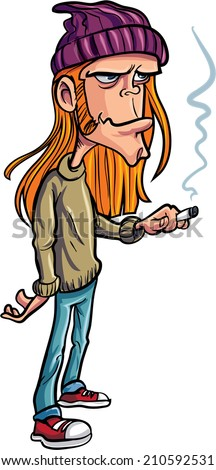 Cartoon loser with long hair smoking. Isolated - stock vector