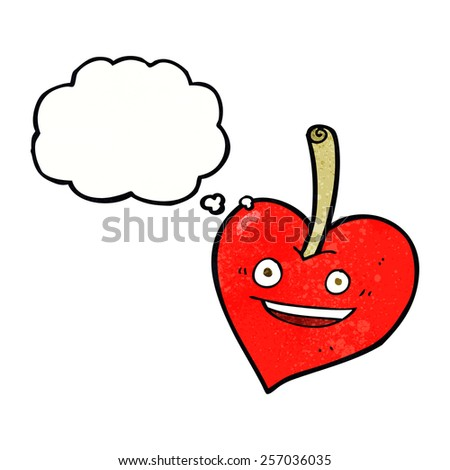 cartoon love heart apple with thought bubble - stock vector