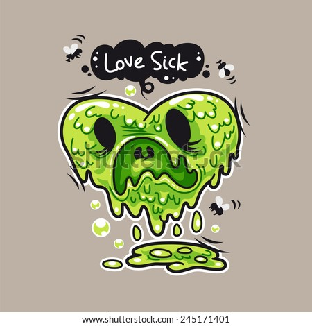 Cartoon Love Sick Monster for Humor Valentine's Day Design or T-Shirt Print - stock vector