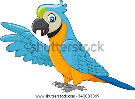 Cartoon macaw presenting isolated on white background - stock vector