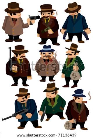 cartoon mafia icon - stock vector