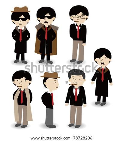 cartoon mafia icon set - stock vector