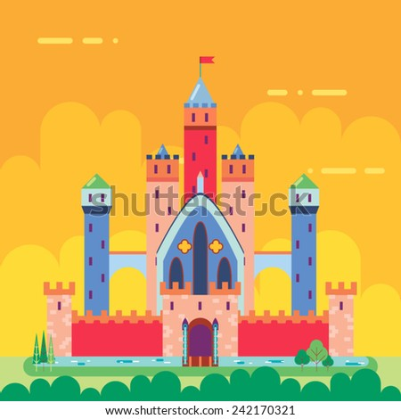 Cartoon Magic Fairytale Castle Flat Design Icon Summer Landscape Background Template Vector Illustration - stock vector