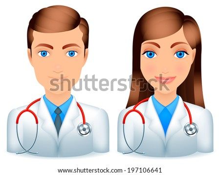 Cartoon male and female doctors with stethoscopes. - stock vector