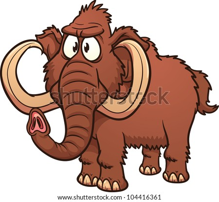 Cartoon mammoth. Vector illustration with simple gradients. All in a single layer. - stock vector