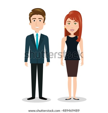 Women Man Cv Standing Human Resources Stock Vector