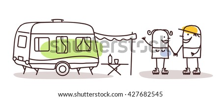 cartoon man and woman with a caravan - stock vector