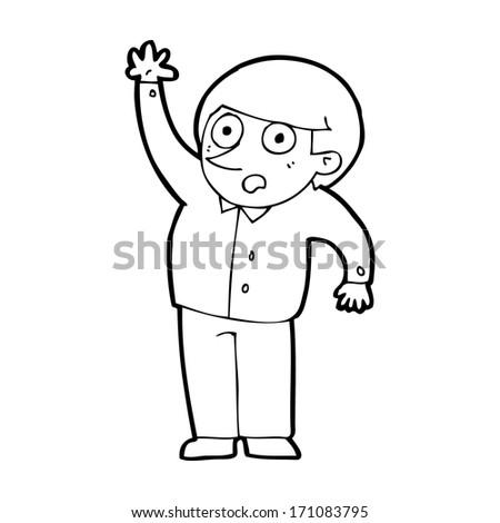 cartoon man asking question - stock vector