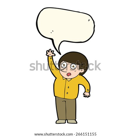 cartoon man asking question with speech bubble - stock vector