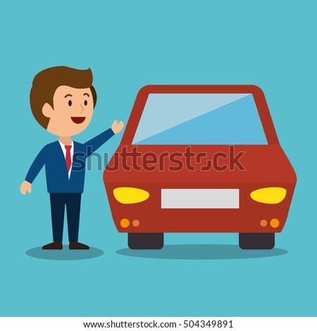 cartoon man car earnings design isolated