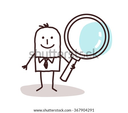 cartoon man carrying a large magnifying glass - stock vector