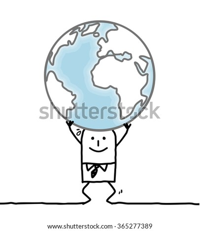 cartoon man carrying the Earth - stock vector