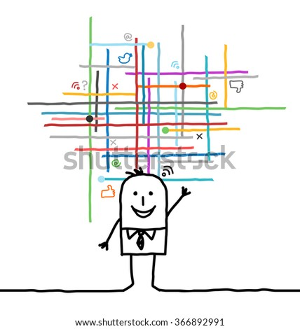 cartoon man connected to social and media networks - stock vector