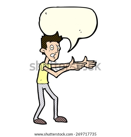 cartoon man desperately explaining with speech bubble