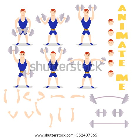 Cartoon man dumbbells exercises squat, deadlift, overhead press. Cute athlete. character creation set. icons with different types of faces, emotions. Male person in different poses. Moving arms, legs