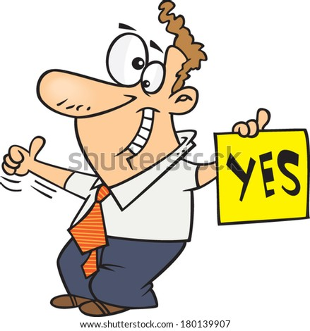Cartoon Man Holding Yes Sign Stock Vector 180139907 ...