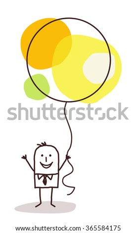 cartoon man holding up a big celebration balloon - stock vector
