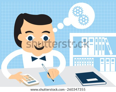 Cartoon man in accounting business. - stock vector