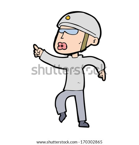 cartoon man in bike helmet pointing