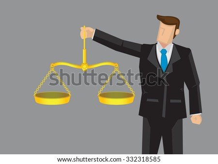 Cartoon man in formal suit holding golden balance scales, like Scales of Justice. Vector illustration for concept on upholding professional ethics isolated on grey background. - stock vector