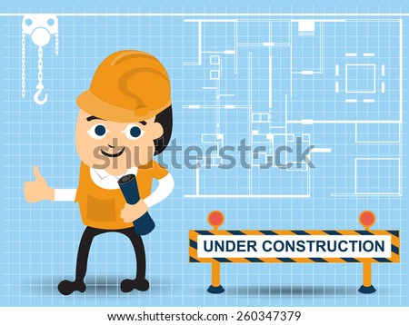 Cartoon man in industrial business. - stock vector