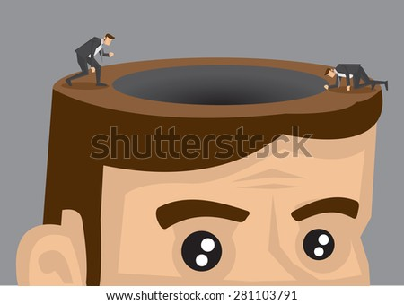 Cartoon man in suit exploring around black hole on the opened head of a giant man. Creative conceptual vector illustration isolated on grey background.  - stock vector