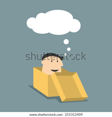 Cartoon man inside a brown box with thought cloud above his head for delivery, or transportation concept, flat design - stock vector