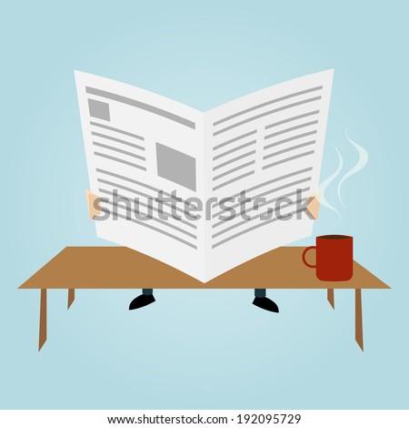 cartoon man is reading newspaper - stock vector