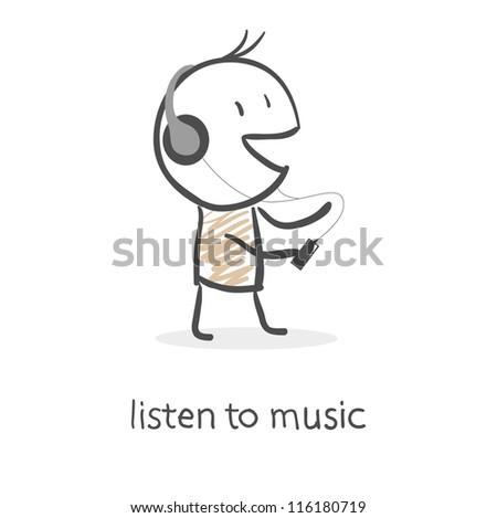 Cartoon man listening to music - stock vector