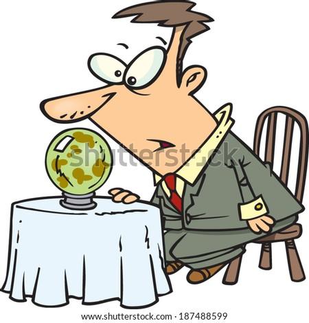 Cartoon man looking into a crystal ball stock vector