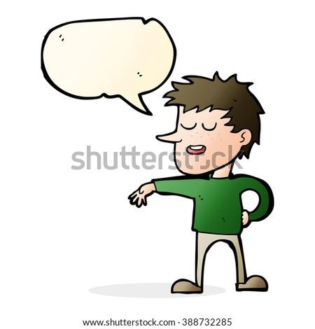 cartoon man making dismissive gesture with speech bubble - stock vector