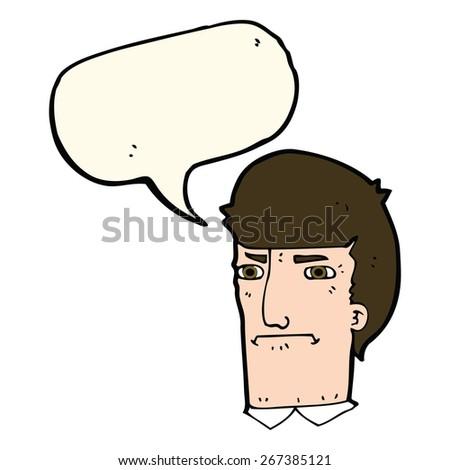 cartoon man narrowing eyes with speech bubble - stock vector