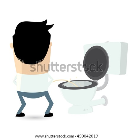 cartoon man peeing on the toilet seat
