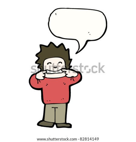 cartoon man pulling face with speech bubble
