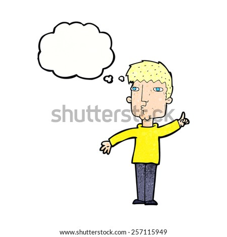 cartoon man raising point with thought bubble - stock vector