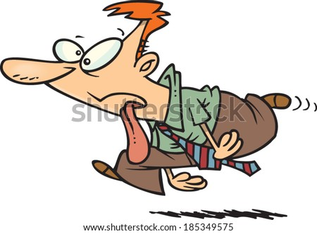 cartoon man running with his tongue hanging out - stock vector