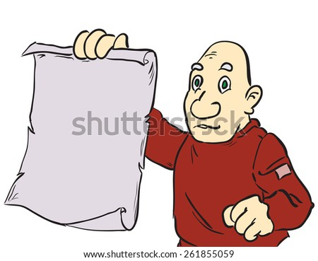 Cartoon man showing a blank sheet of parchment. Vector illustration. - stock vector