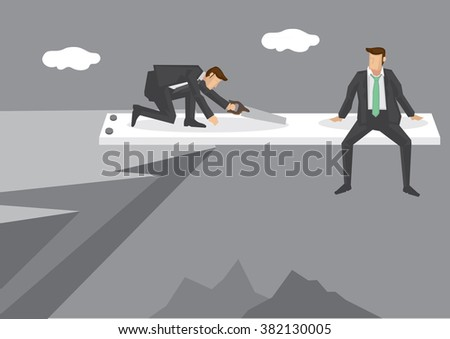 Cartoon man sitting at end of springboard at high mountain cliff watching helplessly at rival sawing the springboard. Creative vector illustration on concept for business in a risky position.