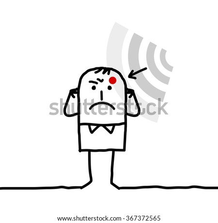 cartoon man suffering from electrosensitivity - stock vector