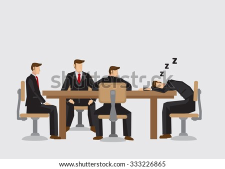 Cartoon man taking a nap during boring business meeting. Vector illustration isolated on plain background. - stock vector
