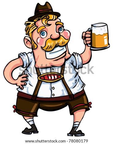 Cartoon man wearing a lederhosen. Isolated on white - stock vector